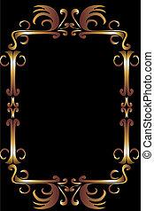 kunst, goud, van een stam, vector, ontwerp, frame