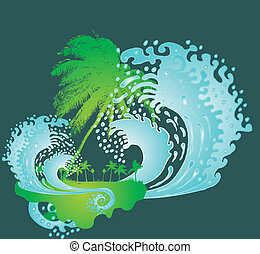 kunst, groß, pazifik, vektor, handfläche, wellen, sandstrand