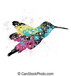 kunst, grunge, model, met, een, vogel