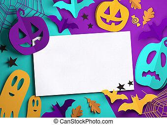 kunst, -, halloween, papier, hintergrund, gespenstisch