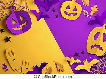 kunst, -, halloween, papier, hintergrund, glücklich
