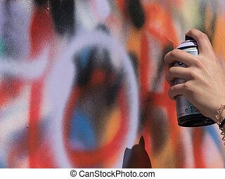 kunst, hand, verf , verpulveren, graffiti, steet