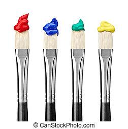 kunst, handwerk, bürste, farbe