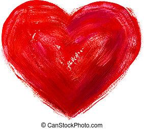 kunst, hart, verven, illustratie, vector, rood