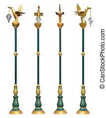 kunst, heller pole, lampe, straße, isolated.thai, pfahl, straße