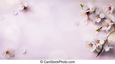kunst, houten, lente, blooming;, achtergrond, bloemen