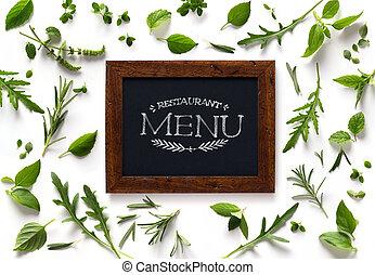 kunst, italiensk, homemade, menu, mad, background;, restaurant, uge