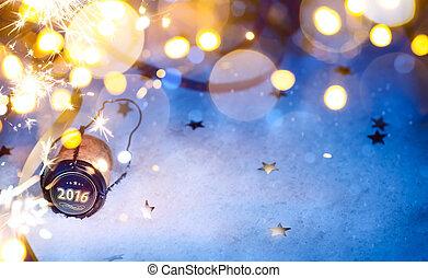 kunst, jaar, achtergrond, nieuw, feestje, 2016, kerstmis