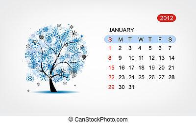 kunst, january., boompje, vector, ontwerp, 2012, kalender