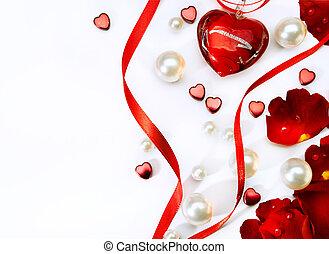 kunst, jewelry, roser, valentines, isoleret, hils, kronblade, card, baggrund, haert, hvid rød