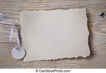 kunst, kennisgeving, kaart, witte , papier, op, hout, achtergrond