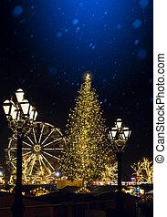 kunst, kerstboom, en, oud, city;, europeaan, kerstmis, straat, feestdagen, market;