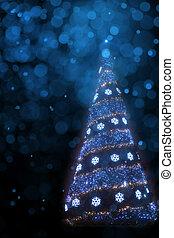 kunst, kerstboom, licht, achtergrond