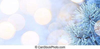 kunst, kerstboom, licht
