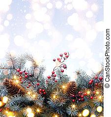 kunst, kerstboom, light;, kerstmis, achtergrond, met, spar, tak