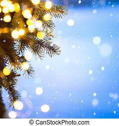 kunst, kerstboom, lights;, blauwe sneeuw, achtergrond
