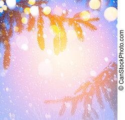 kunst, kerstboom, op, blauwe sneeuw, achtergrond