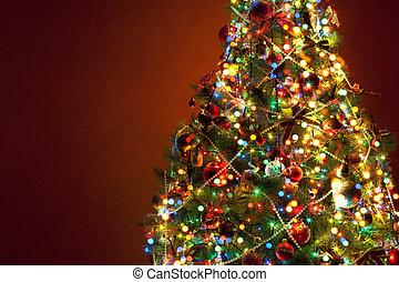 kunst, kerstboom, op, rode achtergrond