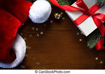 kunst, kerstman, year;, boompje, vrolijk, nieuw, hoedje, kerstmis, vrolijke