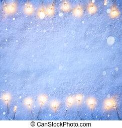 kunst, kerstmis, blauwe sneeuw, achtergrond