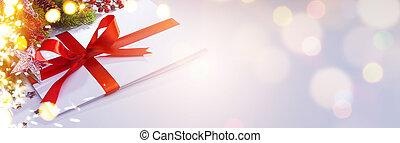 kunst, kerstmis, decoration;, vakantietijd, ornament;, groet, card;