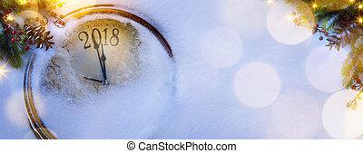 kunst, kerstmis, en, vrolijke , oudjaarsdag, achtergrond;,...
