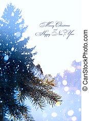 kunst, kerstmis, feestdagen, achtergrond;, boompje, licht