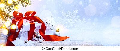 kunst, kerstmis, feestdagen, achtergrond;, giftdoos, en, kerstmis boom decoratie