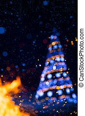 kunst, kerstmis, feestdagen, boompje, licht, achtergrond