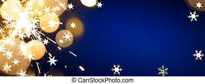 kunst, kerstmis, feestdagen, licht, op, blauwe achtergrond