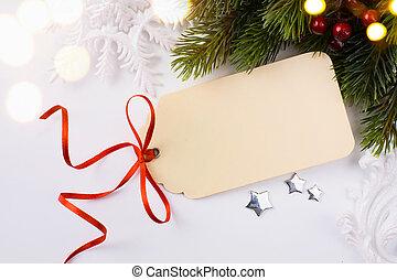kunst, kerstmis, feestdagen, sale;, boompje, licht, achtergrond;