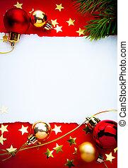 kunst, kerstmis, frame, met, papier, op, rode achtergrond