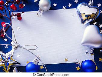 kunst, kerstmis, groet, op, blauwe achtergrond