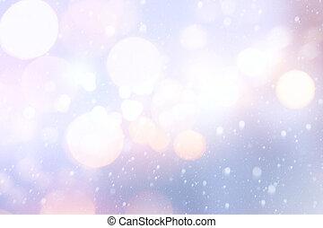 kunst, kerstmis vakantie, lichten, op, blauwe achtergrond