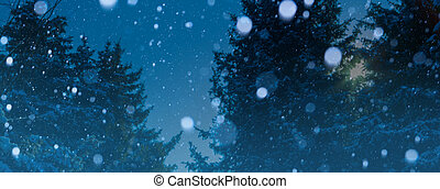 kunst, kerstmis, winter, achtergrond;, besneeuwd, landscape