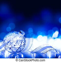 kunst, kerstversiering, op, blauwe achtergrond