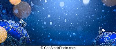 kunst, kerstversiering, op, blauwe sneeuw, achtergrond