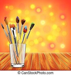 kunst, kleurrijke, houten, borstels, glas, achtergrond, tafel