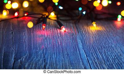 kunst, kleurrijke, lichten, op, blauwe achtergrond