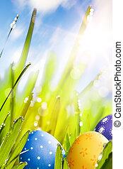 kunst, kleurrijke, paaseitjes, verfraaide, in, de, gras, op, blauwe hemel, bac