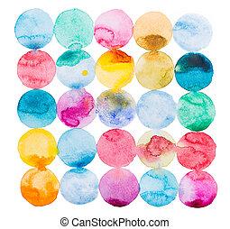 kunst, kleurrijke, splatter, abstract, hand, watercolor verf...