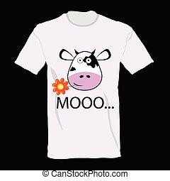kunst, koe, informatietechnologie, illustratie, t-shirt, vector