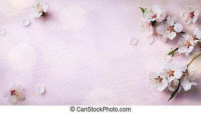 kunst, lente, blooming;, lentebloemen, op, houten, achtergrond