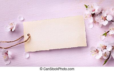 kunst, lente, floral, achtergrond, met, roze, blossom