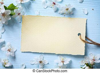 kunst, lente, floral, achtergrond, met, witte bloesem