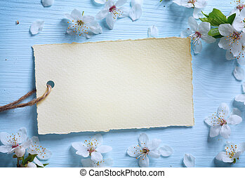 kunst, lente, floral rand, achtergrond, met, witte bloesem