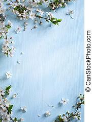 kunst, lente, grens, achtergrond, met, witte bloesem