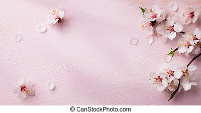 kunst, lentebloemen, frame, achtergrond