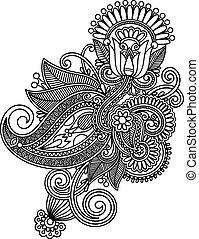 kunst, lijn, bloem, ontwerp, sierlijk