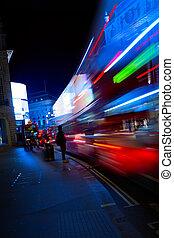 kunst, londen, nacht, stad verkeer